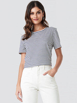 NA-KD Cotton Striped Round Neck Tee blå