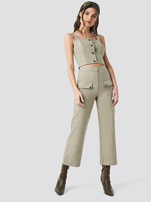 NA-KD Trend omönstrade byxor Linen Look Front Pocket Cargo Pants grön