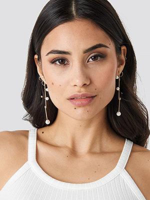 NA-KD Accessories smycke Crossed Bars Pearl Earrings guld