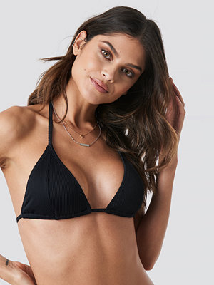 NA-KD Swimwear Ribbed Triangle Bikini Top svart