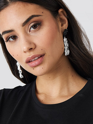 NA-KD Accessories smycke Textured Contrast Plate Earrings silver