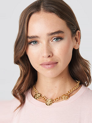 NA-KD Accessories smycke Chunky Chain Coin Necklace guld