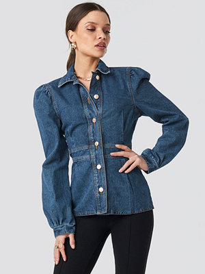 NA-KD Denim Puff Sleeve Jacket blå
