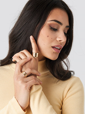 NA-KD Accessories smycke Textured Chunky Rings (2-pack) guld