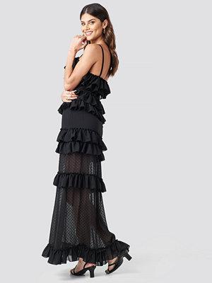 NA-KD Party Sheer Ruffle Detail Maxi Dress svart