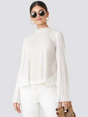 NA-KD Boho Pleated Flare Cuff Blouse vit