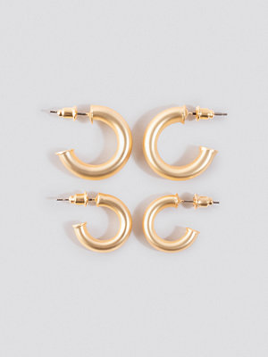 NA-KD Accessories smycke Flat End Mini Hoops (Double Pack) guld