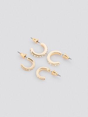 NA-KD Accessories smycke Sparkling Mini Hoop Set guld