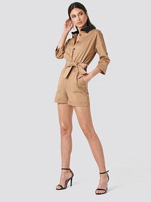 Trendyol Waist Pleated Jumpsuit beige
