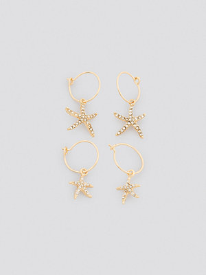 NA-KD Accessories smycke Sparkling Starfish Mini Hoops guld