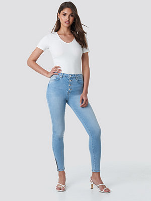 NA-KD Skinny High Waist Zipper Jeans blå