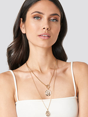NA-KD Accessories smycke Coin Pendant T-Bar Doubel Necklace guld