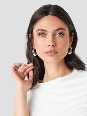 NA-KD Accessories smycke Thick Pointy Hoops (Double Pack) silver