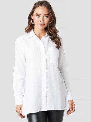 NA-KD Linen Blend Button Up Shirt vit
