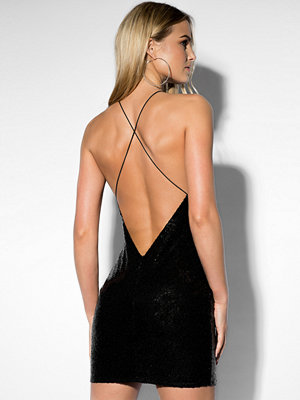 Rebecca Stella Sequin Halterneck Dress svart