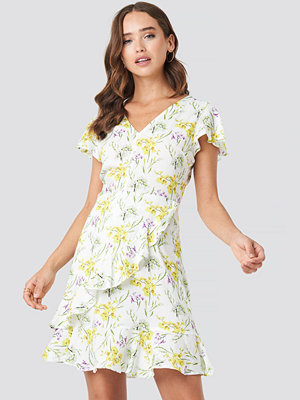 NA-KD Ruffle Wrap Mini Dress multicolor