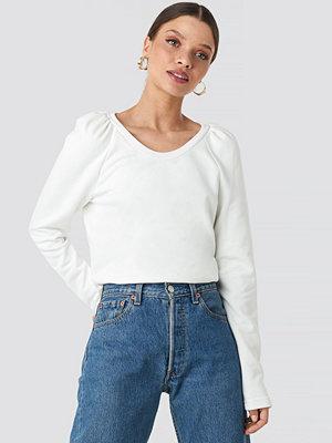 Tröjor - NA-KD Puff Sleeve Sweater vit