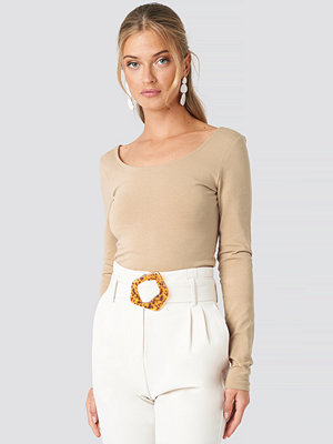 NA-KD Basic Basic Fitted LS Top beige