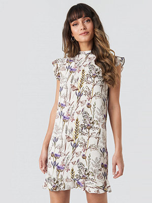 NA-KD Boho Ruffle Floral Mini Dress multicolor