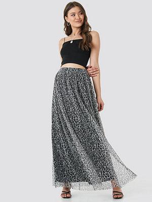 NA-KD Leopard Print Mesh Maxi Skirt svart multicolor