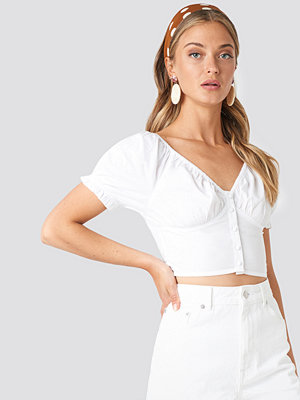 NA-KD Boho Cropped Fitted Button Top vit