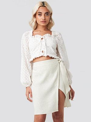 AFJ x NA-KD Belted Wrap Mini Skirt beige