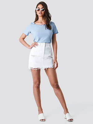 NA-KD Distressed Denim Mini Skirt vit