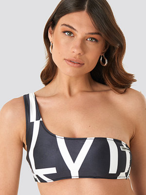 Calvin Klein One Shoulder Swim Bralette svart