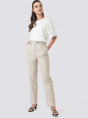NA-KD Classic vita byxor Linen Blend Cigarette Pants beige