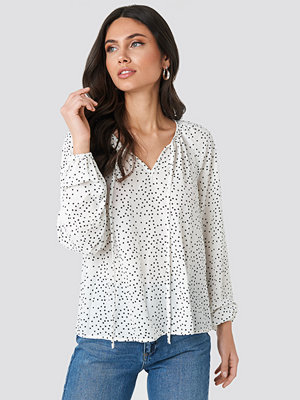 Tunikor - NA-KD Balloon Sleeve Dotted Blouse vit