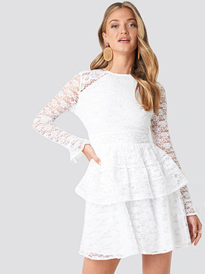 NA-KD Boho All Over Lace Midi Dress vit