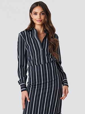 NA-KD Classic Oversized Straight Striped Shirt blå