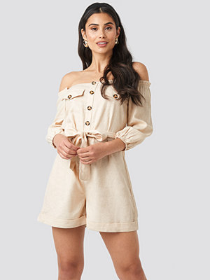 Jumpsuits & playsuits - Trendyol Button Detailed Jumpsuit beige