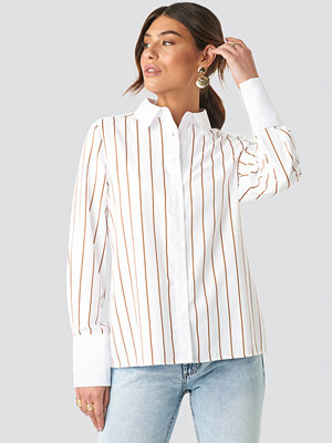 NA-KD Classic Fold Up Cuff Striped Shirt vit