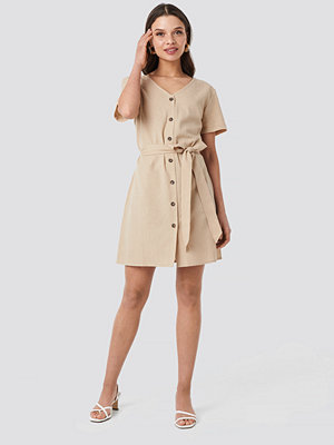 NA-KD Linen Look Buttoned Dress beige