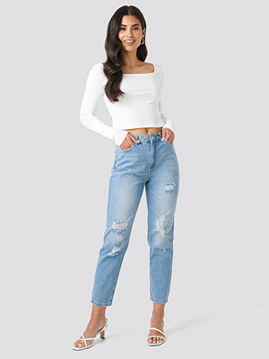 Trendyol Ripped Detailed High Waist Mom Jeans blå