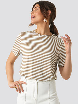 NA-KD Basic Striped Viscose Tee beige