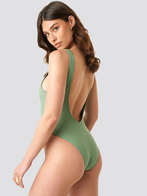 NA-KD Swimwear High Leg Swimsuit grön