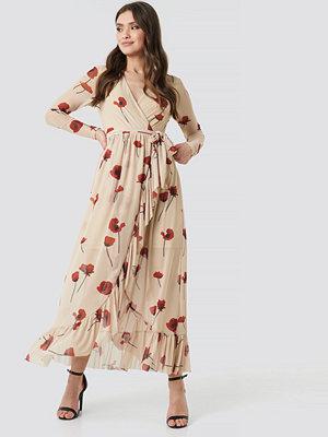 NA-KD Trend Mesh Printed Frill Maxi Dress beige