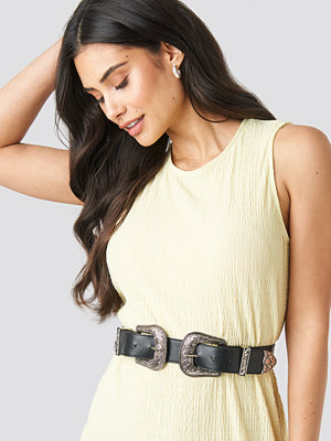 NA-KD Accessories Double Buckle Belt svart