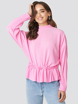 NA-KD Trend Pleated High Neck Long Sleeve Top rosa