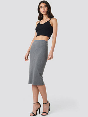 NA-KD Zip Detail Bodycon Midi Skirt grå