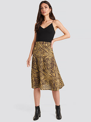 NA-KD Trend Animal Printed Midi Skirt brun
