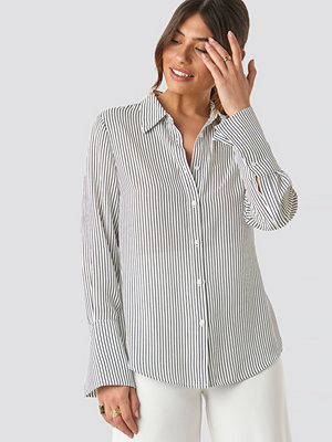 NA-KD Classic Wide Cuff Striped Shirt grå