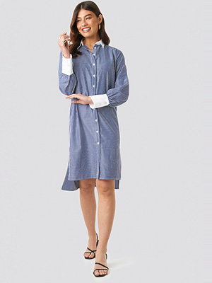 NA-KD Classic Wide Cuff Striped Shirt Dress blå