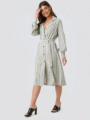 NA-KD Trend Striped Linen Look Trench Coat grå blå