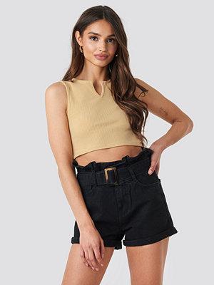 NA-KD Belted Denim Shorts svart