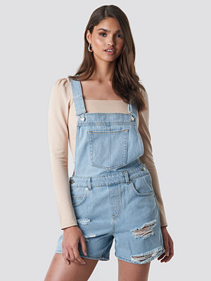 NA-KD Distressed Denim Short Dungarees blå