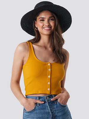 NA-KD Ribbed Cropped Button Top gul