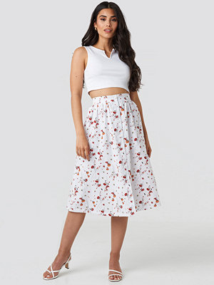 NA-KD Button Up Midi Skirt vit